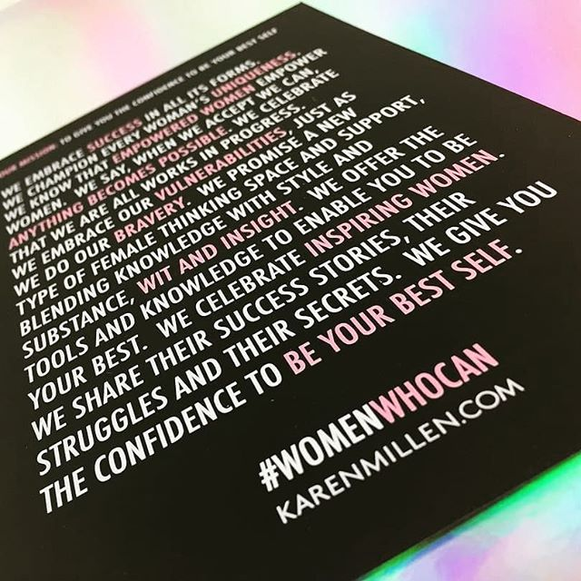 "What better to share with you on #internationalwomensday than the @karen_millen and @thestepupclub campaign we proudly worked on celebrating #womenwhocan 🙌  A bold white print on black with a hit of spot UV on the pink, the print was as strong as its message - ""when we accept we can, anything becomes possible"" 💪🏼#beyourbestself 😎💋 . #empoweredwomenempowerwomen #inspiringwomen #unique #bestself #brave #dynamic #independentwoman #empower #confidence #print #fashion #invitation #spotuv #bold #indigo #fridayfeeling #motivation  #Karenmillen #mykm #stepupclub #theabsolutegroup"