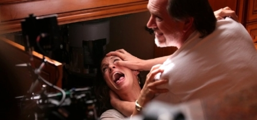 This is a shot of my husband, writer-director Josh Stolberg, standing in for Steven Weber.  He is shoving my head towards the exposed blades of a garbage disposal.  This may have been Josh's happiest day on the set of CRAWLSPACE.