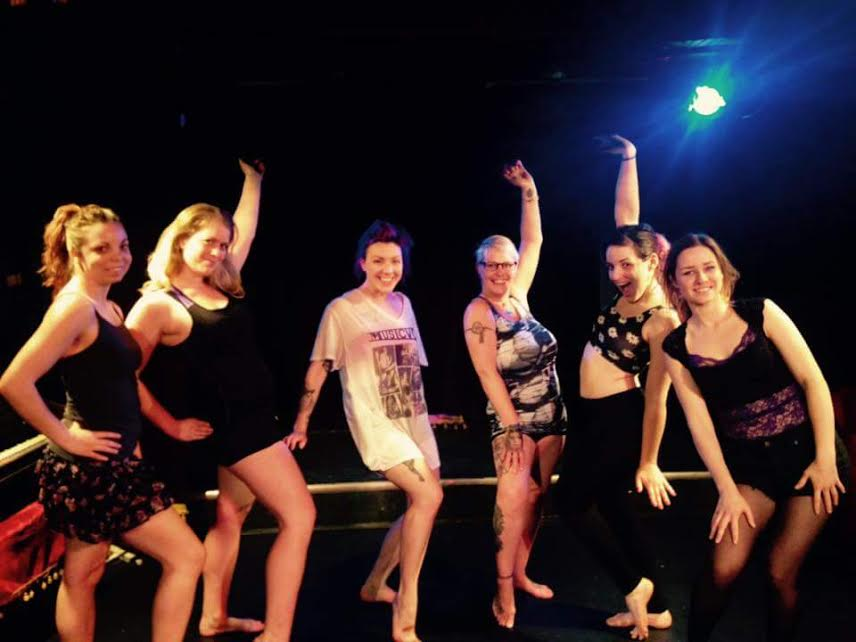 Jessica and some of Burlesque Dance 101 students