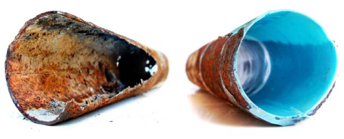 Rusted Pipe and New Pipe