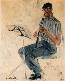 Painting of Eric Dolphy playing clarinet
