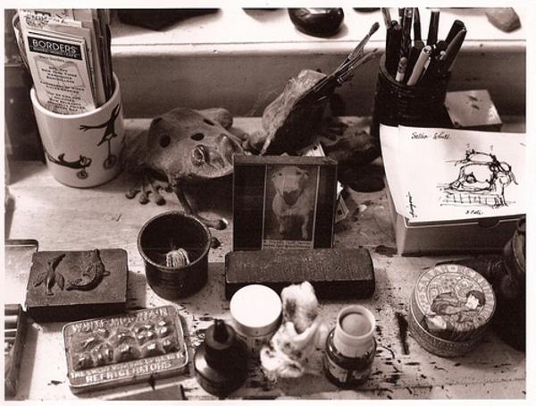 ionracas :      karenleigh :     Edward Gorey's desk