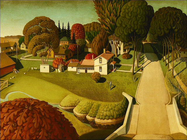 arsvitaest: Grant Wood, Birthplace of Herbert Hoover, West Branch, Iowa, 1931 Oil on composition board