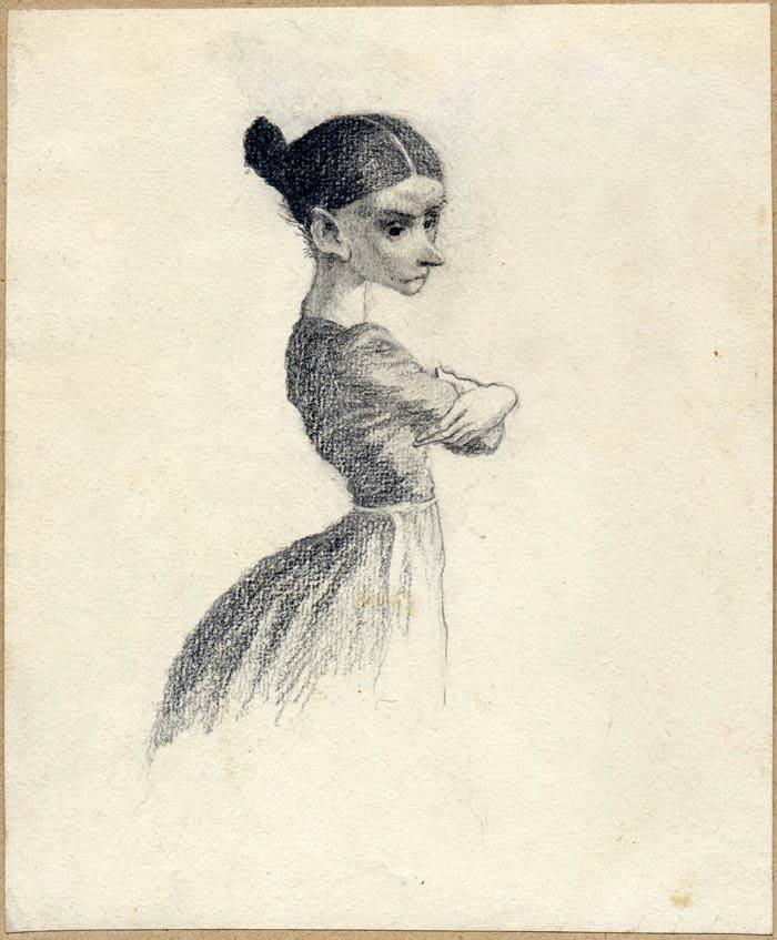Miss Smallweed - Bleak House Illustration by Mervyn Peak 1911 -1968