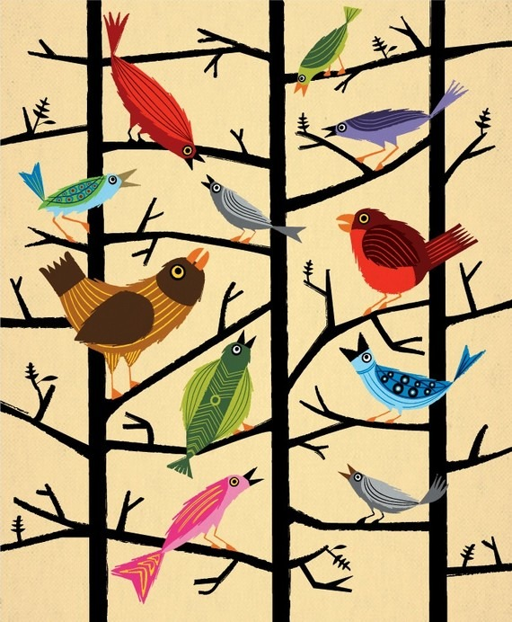 bookspaperscissors :      For All The Birds Limited Edition Print by iotaillustration