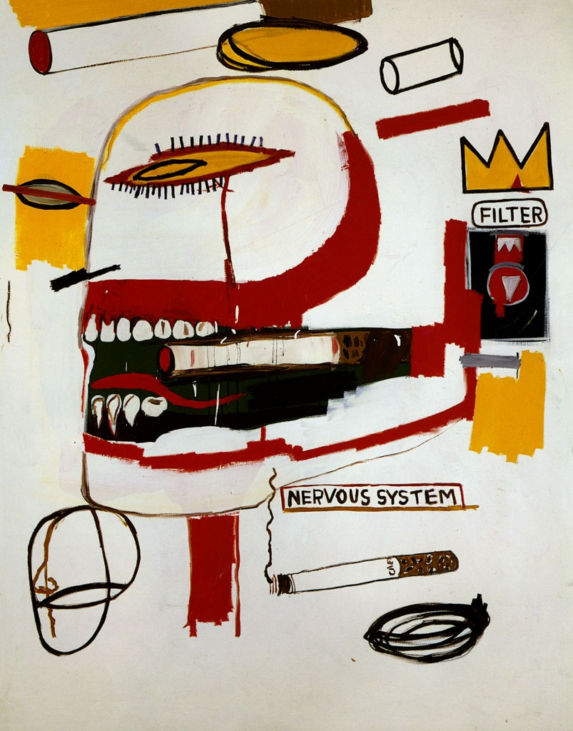 ironnyk: Jean-Michel Basquiat, Tabac, (1984), acrylic and oil on canvas, 219 x 173cm
