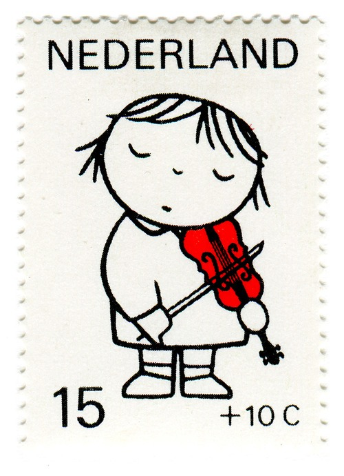 "stampdesigns :       Netherlands Postage Stamp: Dick Bruna, violin     c. 1969   designed by Dick Bruna   ""designs for children's postage stamps based on the theme of child and music""   —descriptive text found in my copy of  Dick Bruna"