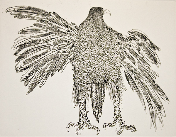 "yama-bato :      Spread Eagle   Leonard Baskin   9"" x 12.5""  Etching    http://www.rmichelson.com/Artist_Pages/Leonard-Baskin/pages/Raptors.html"