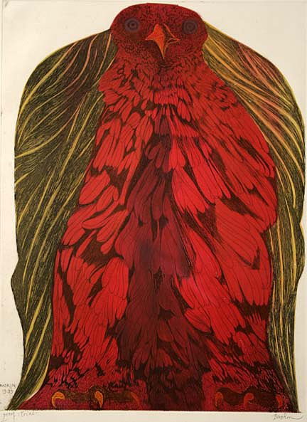 "azurediamond: Fanciful Bird Leonard Baskin 23.75"" x 17.75"" Etching"