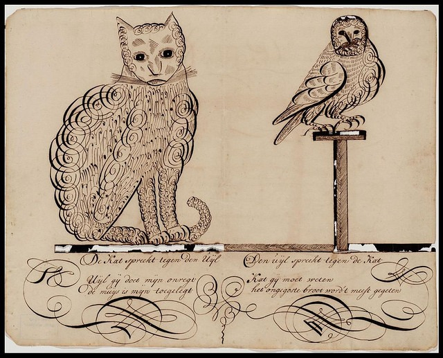 "oldtimeycats: Owl and Cat calligraphy by peacay on Flickr. More about this from Bibliodyssey: ""This calligraphy drawing was produced by the schoolteacher, Jacob Labotz, as part of a series of sketches with poems that he gave to students sometime in the 18th century."""