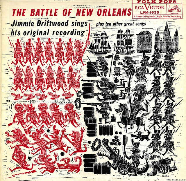drawnblog: Jim Flora album cover art for the Battle of New Orleans I'm not sure if I want to hear Jimmie Driftwood sing or not, but I could look at this album cover all day.