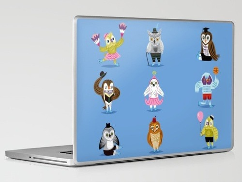 'Owls Wearing Outfits' laptop skin on Flickr. Now available at Society 6