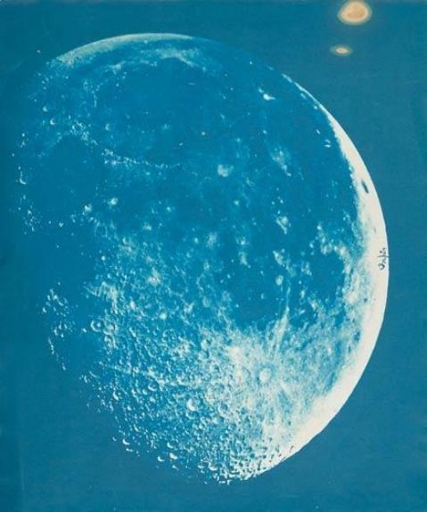 1-9-9-1: pyrrhic-victoria: kusumita: 50watts: turnofthecentury: billyjane:Henry Draper ~ Moon,1863,cyanotype