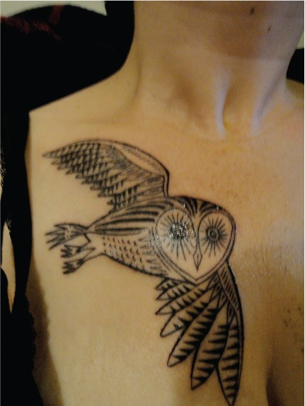 A very brave lady named Nicole decided to get a tattoo, based on my 'Owls On The Prowl' illustration.   The tattoo itself was done by an artist from New York named Duke Riley  http://www.dukeriley.info  He did an excellent job!