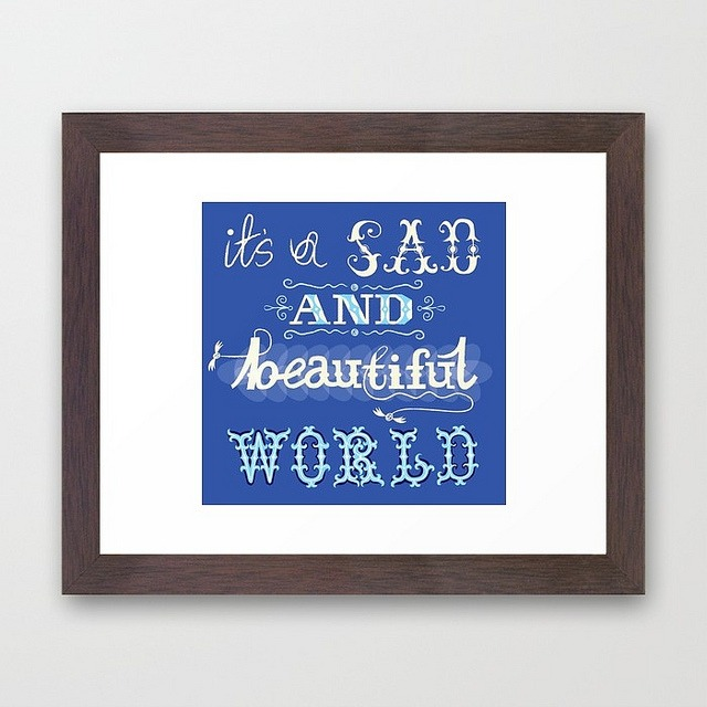 magicfran :      It's A Sad And Beautiful World - Framed Art Print / Conservation Walnut  by  Iota Illustration  on Flickr.