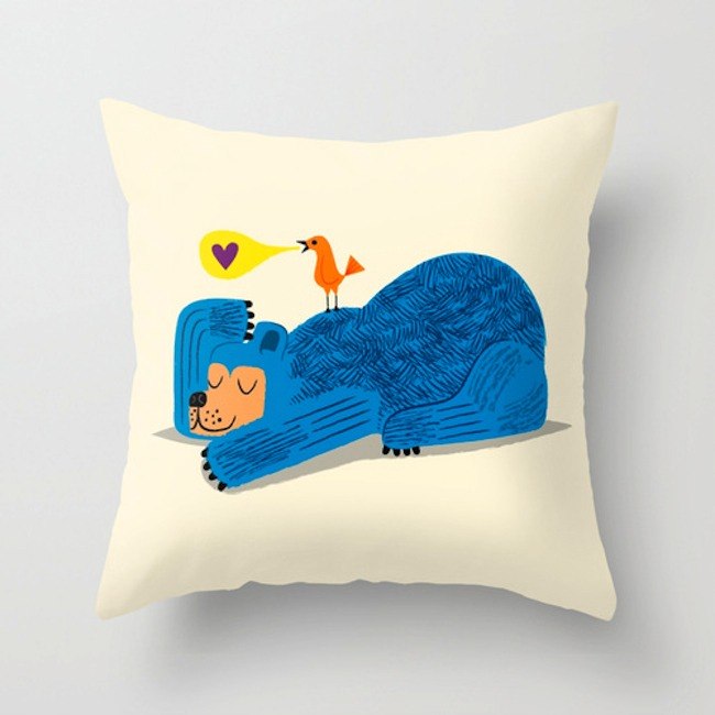 'The Bear and The Bird' Throw pillow cover - Now available here > http://etsy.me/ZgfIXb