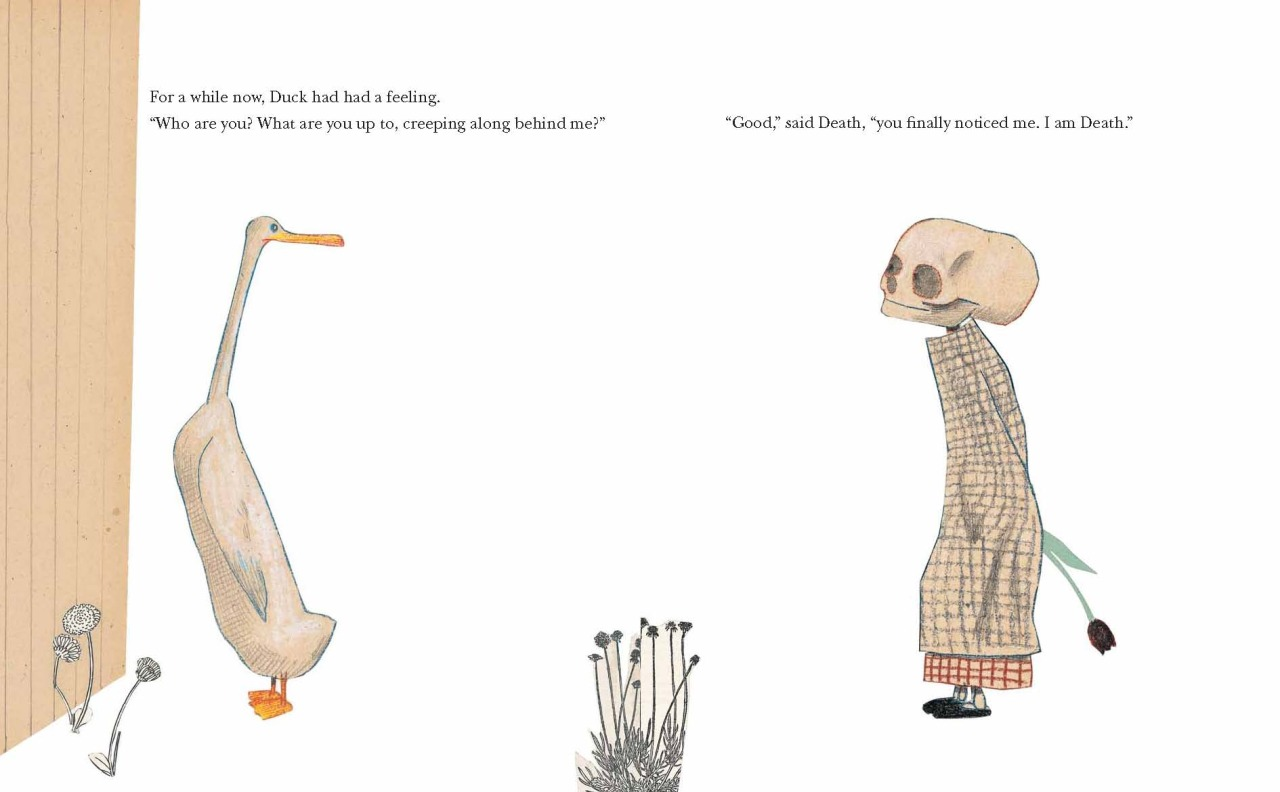 "studioroxas: Page spread from ""Duck, Death & the Tulip"" by Wolf Erlbruch"