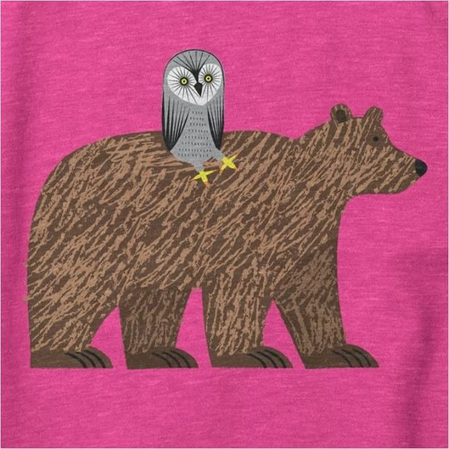 Close up of The Owl and The Bear - Heather Pink - Sweatshirt Link to order is in my Bio.