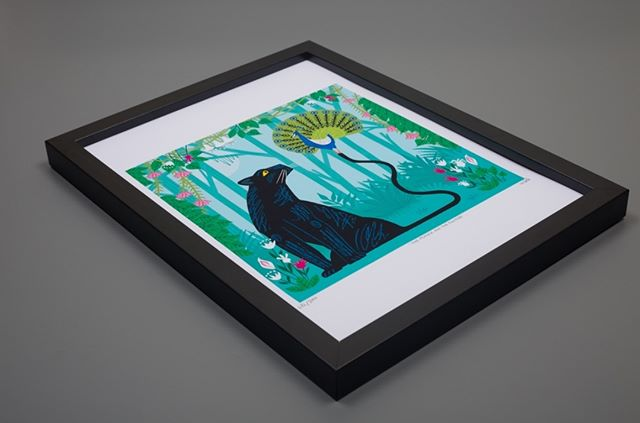 'The Peacock and The Panther' Framed print. Now available in the shop.  Link is in my Bio.
