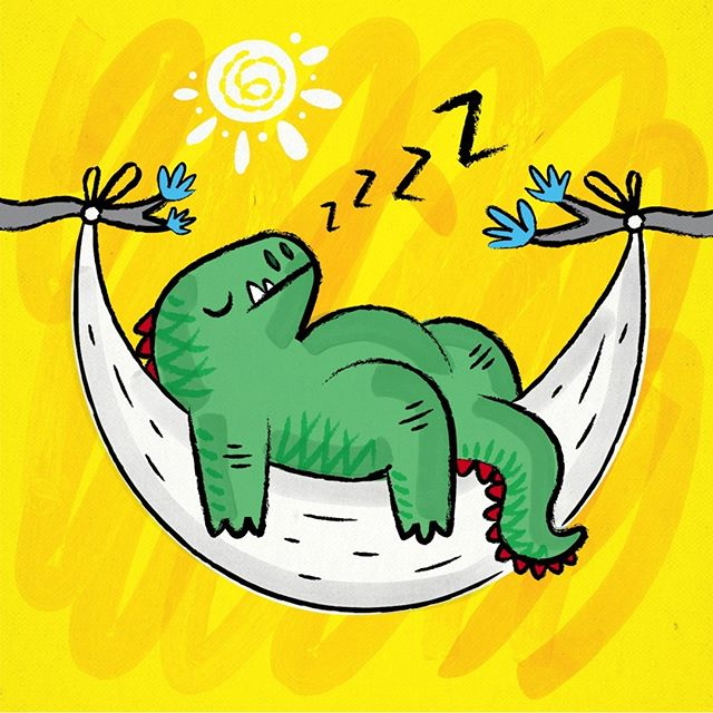 Dinosnore  #dinosaur #dinosaurs #illustration #funny #cute #childrens #yellow #modern #bright #sun #childrensbook #kidsbook #illustrations #sleep