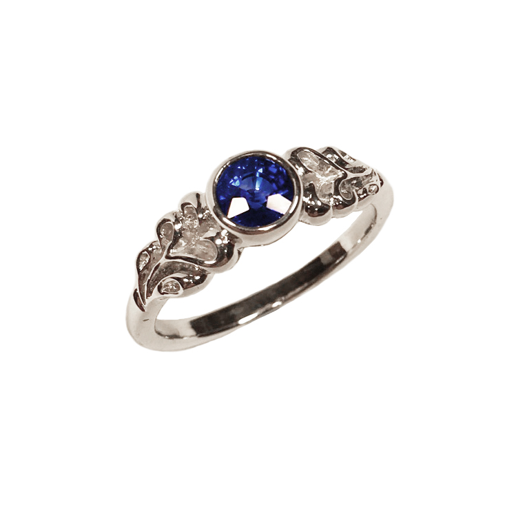 Elisa Melegari Custom Handmade Blue Sapphire 14k White Gold Nature Bezel Solitaire Engagement Ring