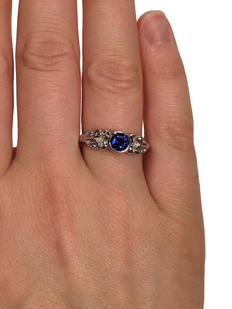 Elisa Melegari Custom Handmade Blue Sapphire 14k White Gold Nature Bezel Solitaire Engagement Ring