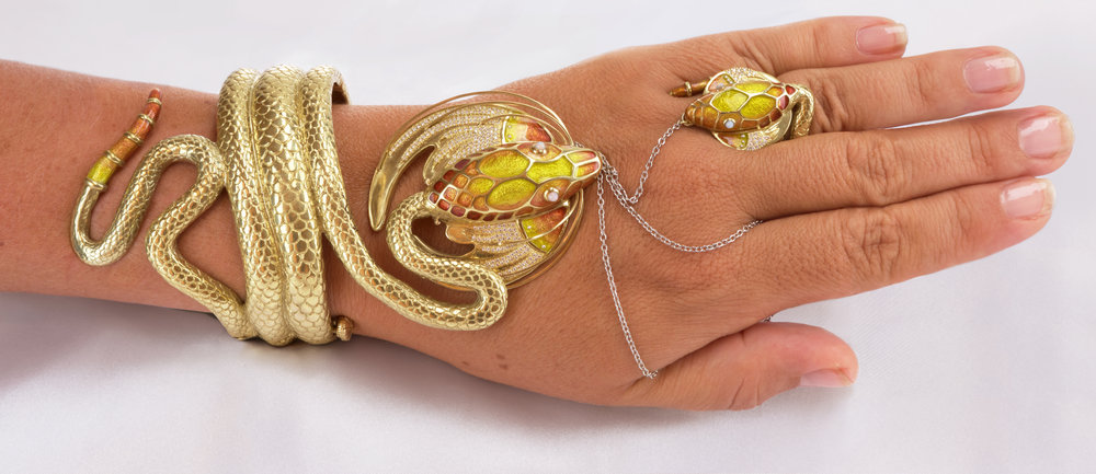 Elisa Melegari Patsy Croft Snake Dragon Ring Chain Bracelet in 18k Yellow Gold Diamonds Opal Enamel