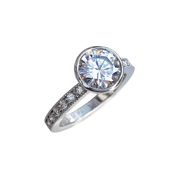 Elisa Melegari Custom Handmade Moissanite Diamond Platinum Milgrain Pave Bezel Solitaire Engagement Ring