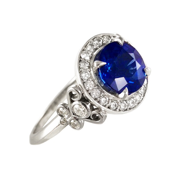 Elisa Melegari Custom Handmade Blue Sapphire Diamond Pave Platinum Halo Engagement Ring