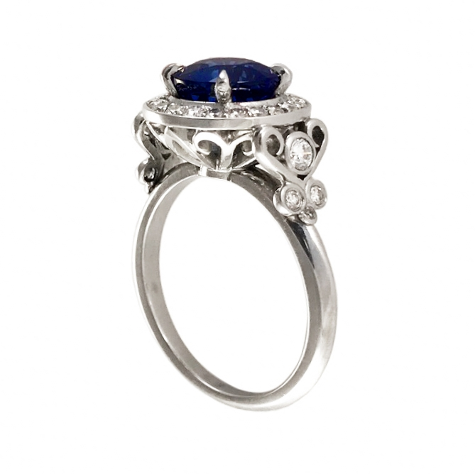 Elisa Melegari Custom Handmade Blue Sapphire Diamond Pave Platinum Halo Engagement Ring