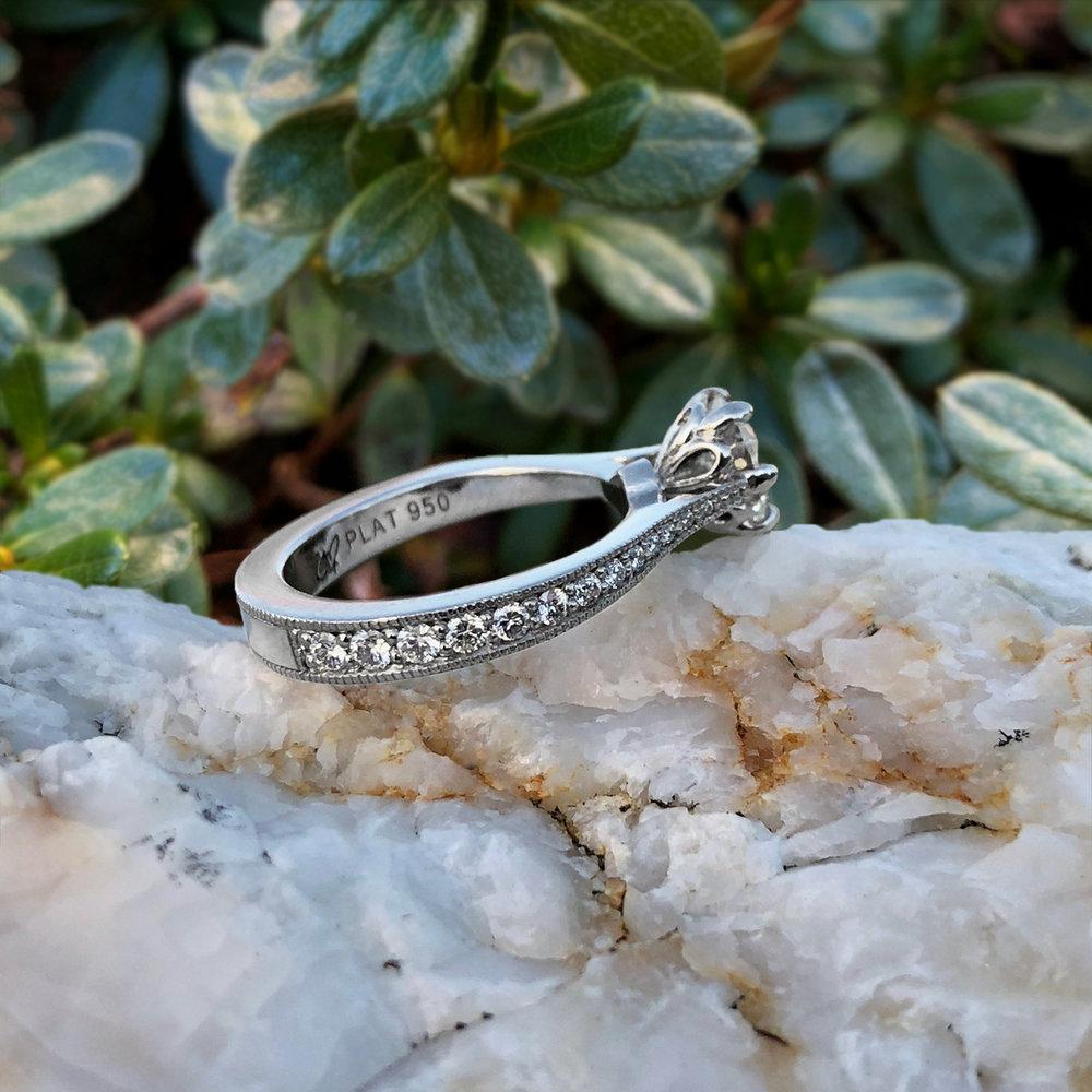 Elisa Melegari Custom Handmade Diamond Platinum Pave Milgrain Prong Solitaire Engagement Ring