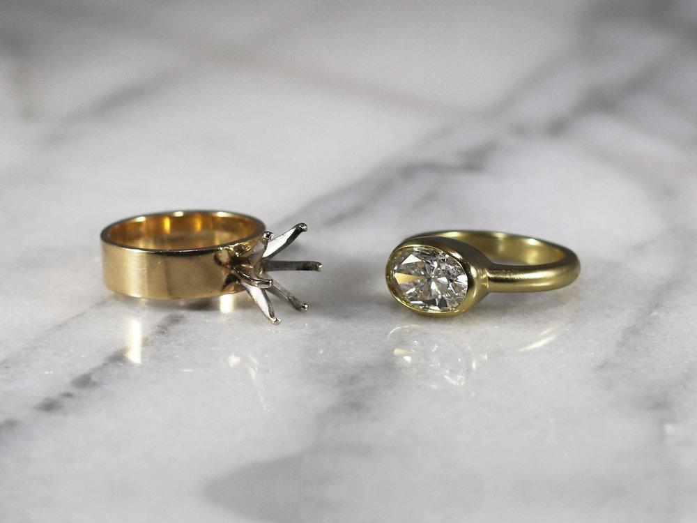 Elisa Melegari Custom Handmade Heirloom Diamond 18k Yellow Gold East to West Bezel Solitaire Engagement Ring
