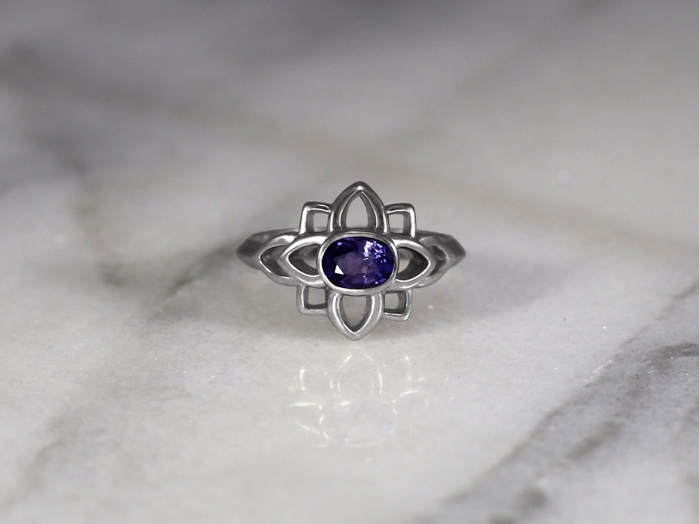 Elisa Melegari Custom Handmade Oval Purple Sapphire 14k White Gold Flower Solitaire Engagement Ring