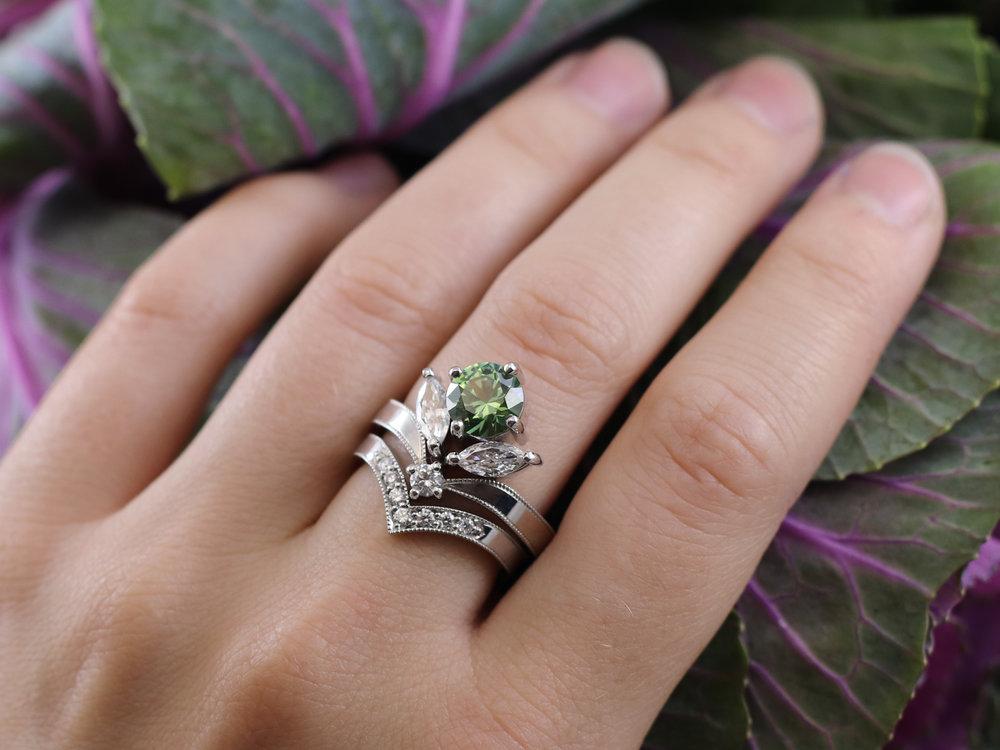 Elisa Melegari Custom Handmade Green Montana Sapphire Diamond Platinum Milgrain Chevron Cluster Engagement Ring