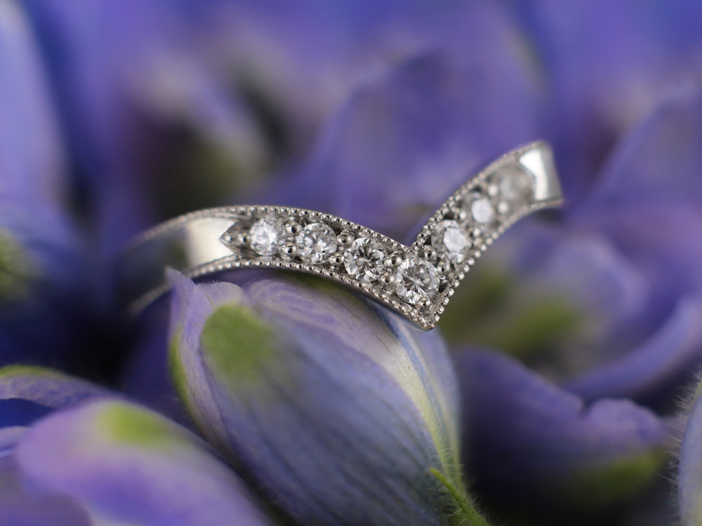 Elisa Melegari Custom Handmade Diamond Platinum Milgrain Pave Chevron Wedding Ring