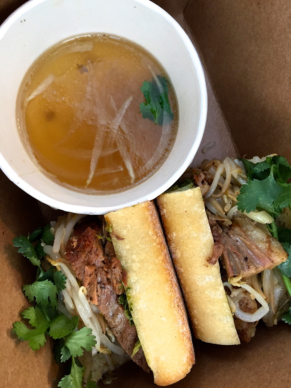 My favorite at the Pig and the Lady-'Braised Beef French Dip with Pho Broth'.