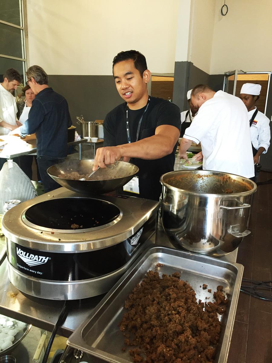 Harold Jurado cooking up some ground Kangaroo!