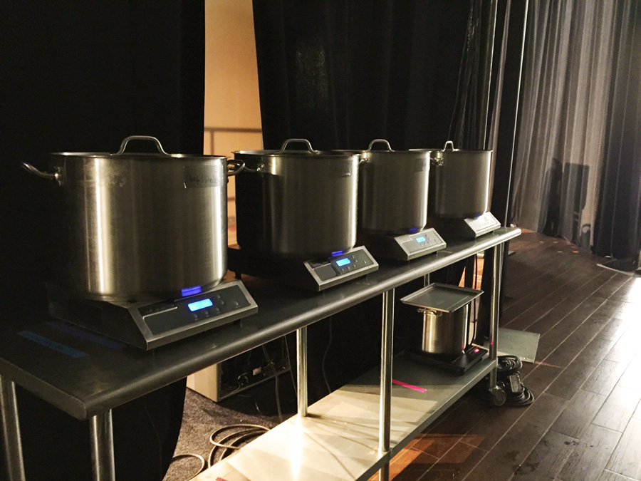 Warming up the broths back stage before the battle...all the broths were boiling for 6+ hours the day prior, and we boiled it up for another 5 hours before the competition.