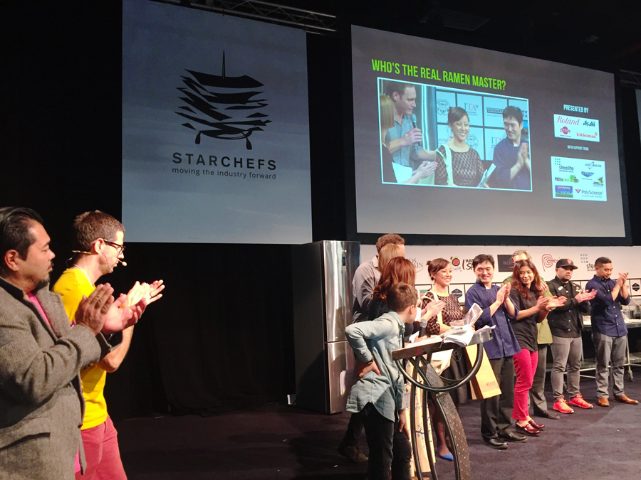 Announcing the winning team, StarChefs gave me a quick shout out for the Ramen Battle! My moment on the main stage :)