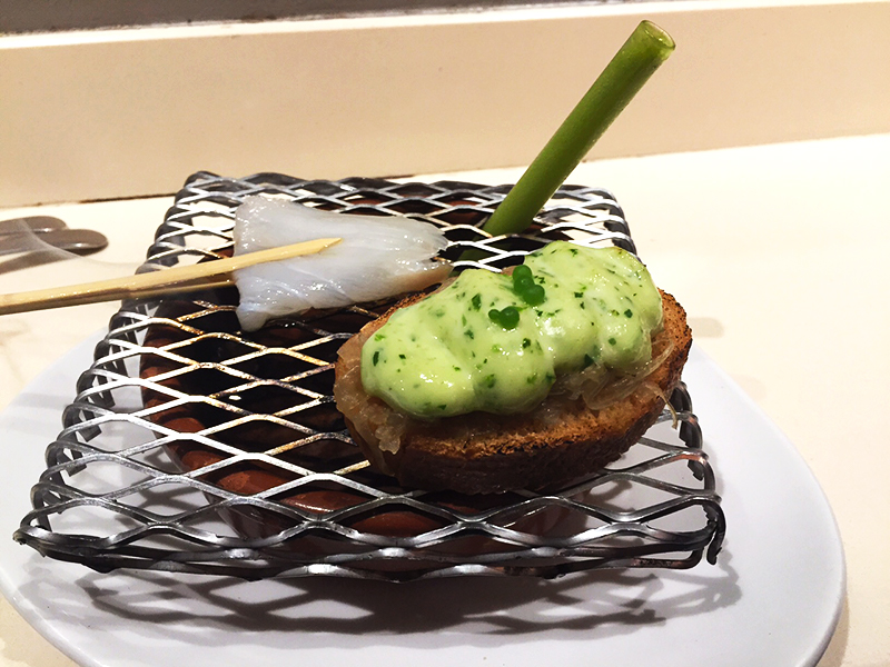 Cod fish with a sip of green salad in a straw at Zeruko, San Sebastián. This was like a mini molecular gastronomy in a bite!