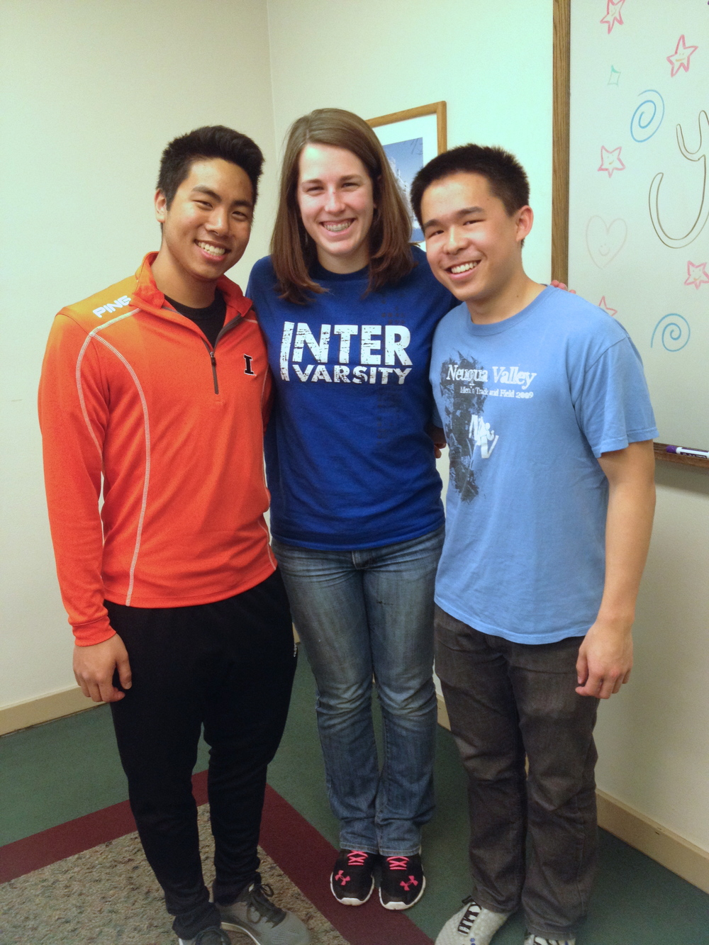 Laura with Austin (left) and Mike, another student in their InterVarsity chapter.