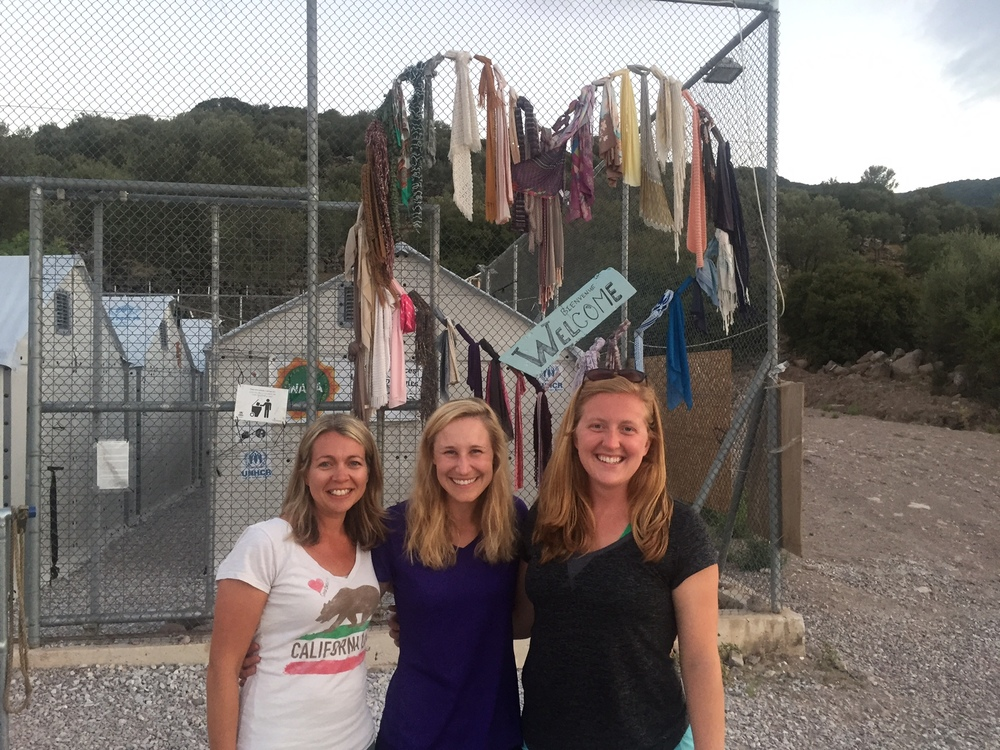 Lauren (right) with teammates Lucy West (center) and Brittany Fellowes (left) outside Moria.