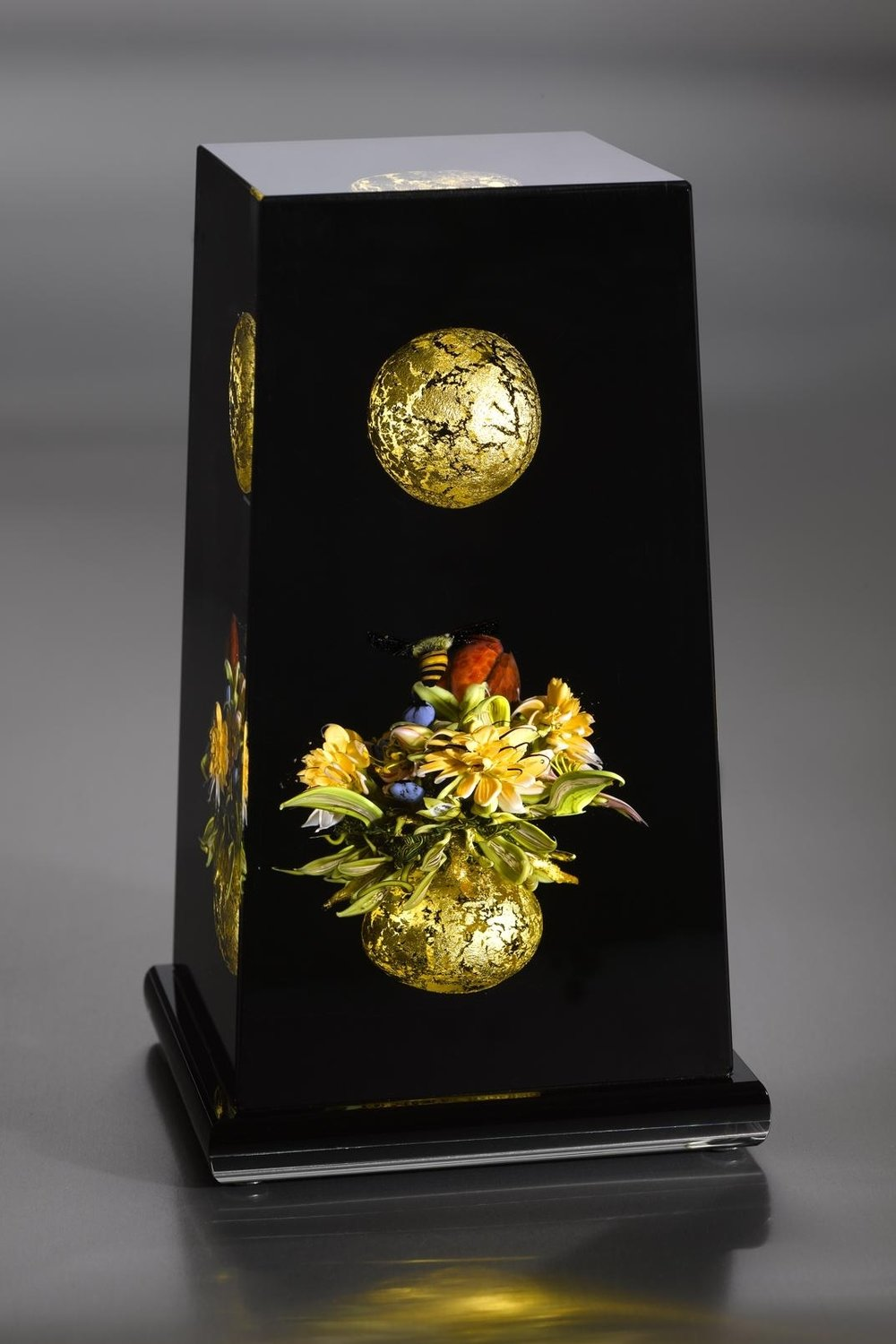 2010; Cloistered Column: Floral Cluster with Golden Orbs; H. 7.0 inches