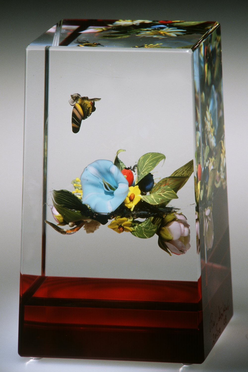 2002; Morning Glory Banded Cube with Honeybee; H. 5.0 x W. 2.50 x D. 2.25 inches