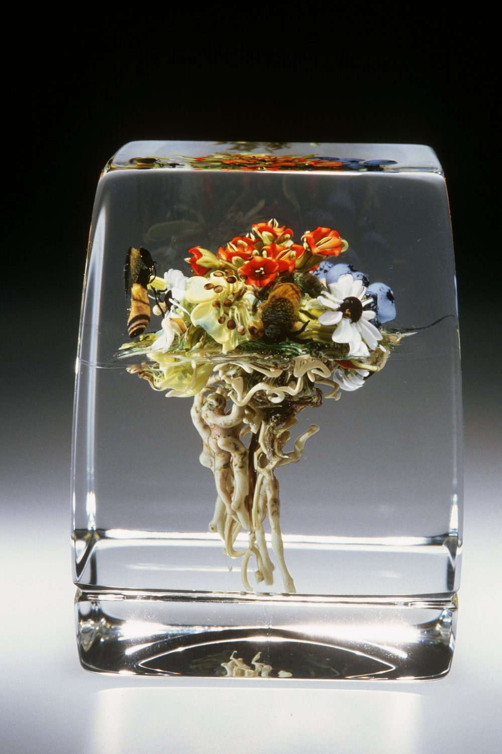 2010; Floral Bouquet Cube with Figures and Honeybee; H. 3.25 inches
