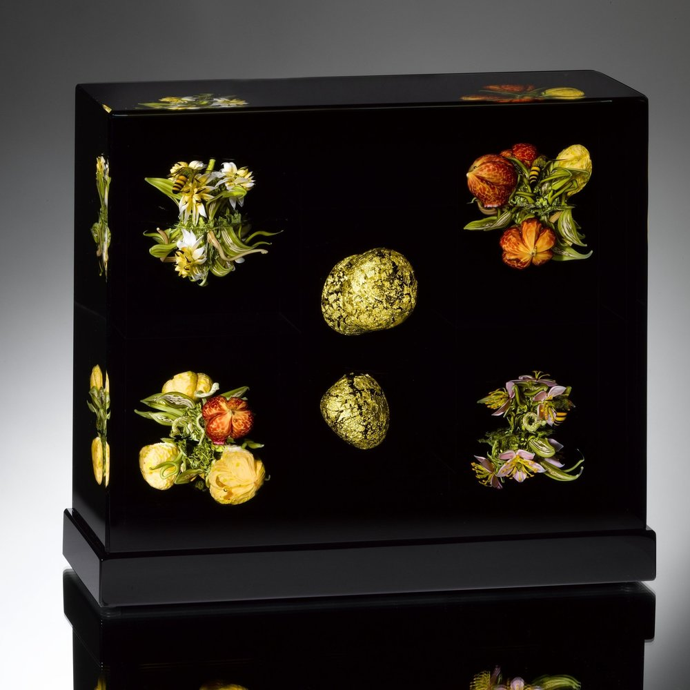 2014; Assemblage: Flowers, Fruit and Golden Orbs; H. 6.0 x L. 7.25 x W. 4.25 inches