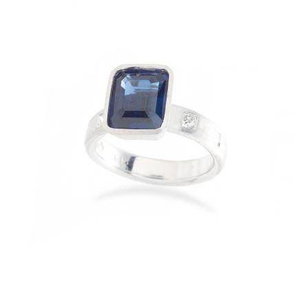 Sapphire and Princess Diamond Engagment Ring.jpg