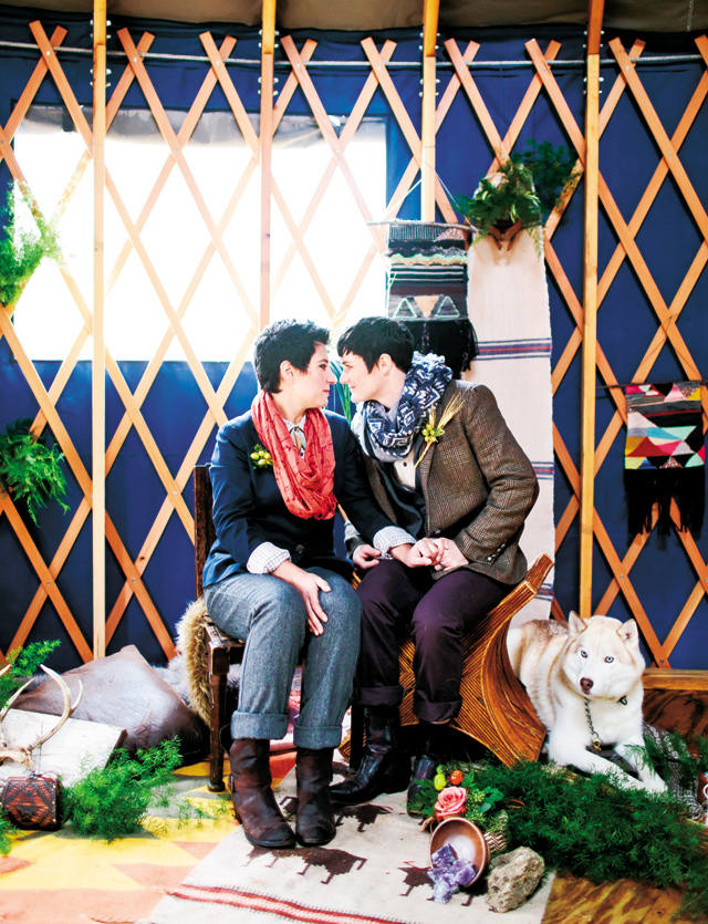 This gorgeous & crazy-in-love pair made the most inspirational models. It was also the perfect way to celebrate the passage of the same-sex marriage amendment in Minnesota, which we are all about here at Saffron & Grey! BONUS - There was also a yurt, beer, & the couple's stunningly beautiful canine, Monet.