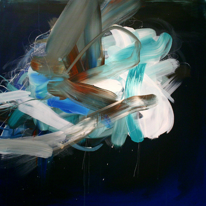 """Four Winds, Lightning Seeds"", acrylic and oil on canvas, 36″x36″"