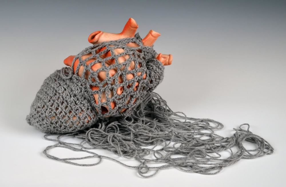 "Instinct |  5"" x 11"" x 13"" | Ceramic, Yarn | 2014"